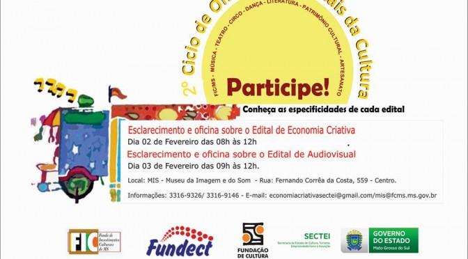 """Oficinas esclarecem editais de """"Audiovisual"""" e de """"Economia Criativa"""" lançados pela Fundação de Cultura"""