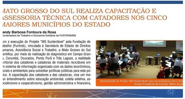 """Projeto """"MS Sustentável"""" da Fundação de Trabalho é destaque em revista eletrônica"""