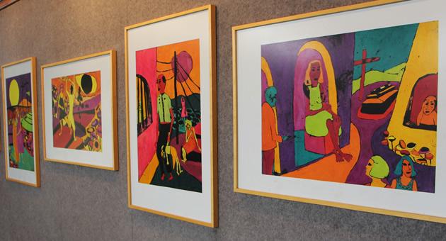Obras de Vânia Pereira, maior expoente da gravura em MS, estão em exposição na Fertel