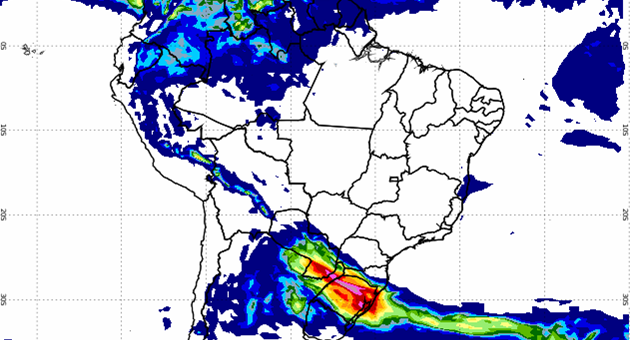 Imagem de satélite mostra que praticamente não há previsão de chuvas sobre o país; MS sofrerá com baixa umidade do ar. (Imagem: Inmet/Divulgação)