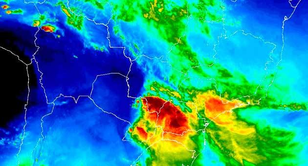Inmet apontou perigo de temporais em todo o Mato Grosso do Sul nesta quinta-feira (20); calor permanece. (Imagem: Inmet/Reprodução)