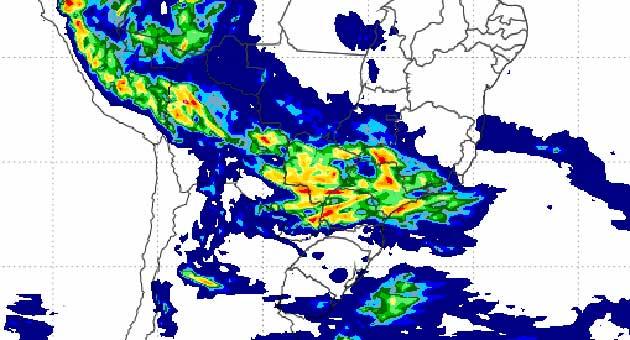 Mapa de precipitação do Inmet aponta acumulado de chuvas sobre o Estado; segunda-feira deve ter mudança no tempo. (Foto: Inmet/Reprodução)