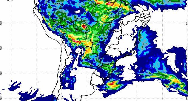 Mapa pluviométrico da América do Sul aponta precipitação acumulada desde a 0h desta quinta-feira; previsão é de chuva forte no Noroeste e Centro. (Imagem: Inmet)