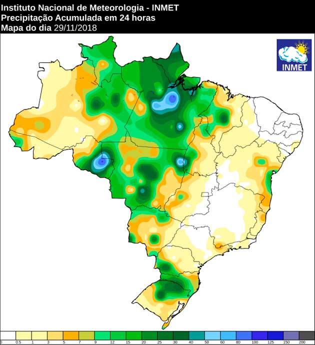 Mapa de precipitação referente a 29 de novembro; Inmet prevê mais chuvas no Estado nesta sexta-feira. (Imagem: Inmet)