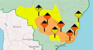 Inmet colocou várias regiões do Brasil em alerta sobre temporais, incluindo o Norte e Nordeste de Mato Grosso do Sul. (Imagem: Inmet/Reprodução)