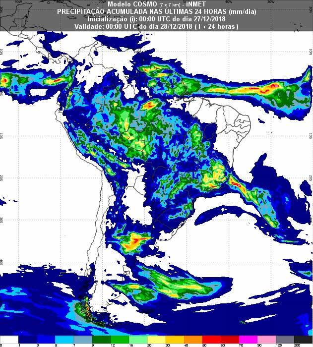 Mapa pluviométrico do Inmet mostra acúmulo de chuva no país em 24 horas; MS deve ter chuvas isoladas, por vezes fortes, durante a tarde. (Imagem: Inmet/Reprodução)