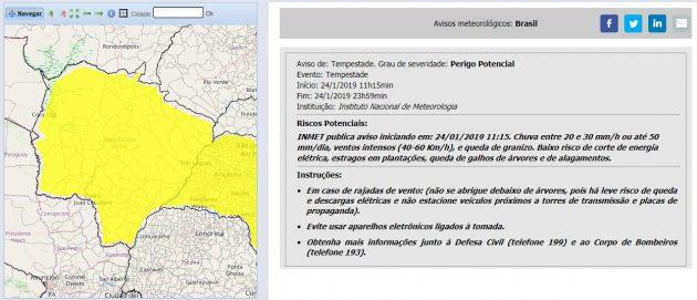 Alerta tem validade até o fim desta quinta-feira para todo o Estado. (Imagem: Inmet/Reprodução)
