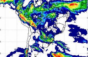 Precipitação acumulada sobre o Brasil nas últimas 24 horas; expectativa é de temporais em MS. (Foto: Inmet/Reprodução)