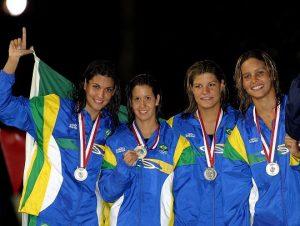 Ana Carolina Muniz (a segunda da direita para a esquerda), com colegas na Seleção Brasileira de natação. (Foto: Divulgação)