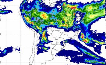 Mapa de precipitação acumulada do Inmet referente às últimas 24 horas mostra pouca chuva sobre MS. (Imagem: Inmet/Divulgação)