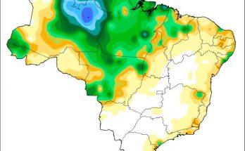 Mapa de chuvas no sábado (30) já mostrava MS com baixos índices; umidade deve cair no início de abril. (Imagem: Inmet)