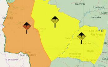 Inmet emitiu alerta de perigo de tempestade para área laranja do mapa de MS; parte amarela indica risco potencial. (Imagem: Inmet/Reprodução)