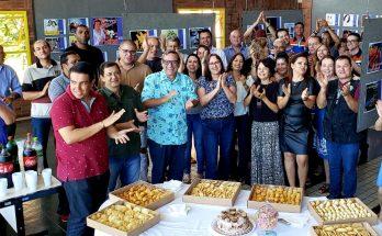 Servidores da Fertel se reuniram para celebrar aniversários de colegas (Foto: Daniela Lima/Fertel)