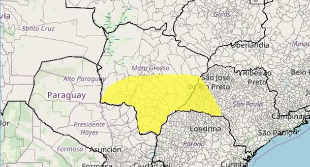 Alerta do Inmet vale até esta quarta-feira (15) e atinge 57 municípios. (Imagem: Inmet/Reprodução)