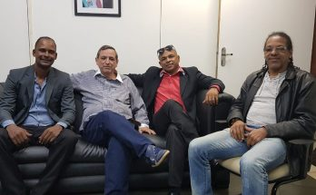 Paulino, Bosco Martins, Moisés e Rasdair, durante reunião na Fertel nesta terça-feira. (Foto: Pedro Amaral/Fertel)