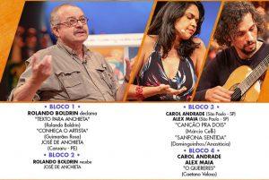José de Anchieta (à esquerda) será lembrado no programa deste domingo, que ainda traz Carol Andrade e Alex Maia como atrações musicais. (Imagem: Reprodução)