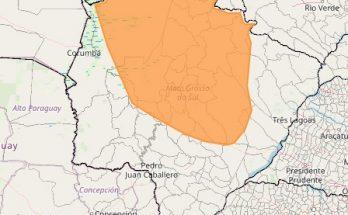 Área em laranja no mapa inclui municípios colocados em alerta do Inmet por conta da baixa umidade do ar nesta sexta-feira (9). (Imagem: Inmet/Reprodução)