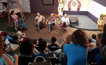 Estudantes conversaram com Celito, Gilson e Jerry Espíndola durante visita à Fertel. (Foto: Pedro Amaral)