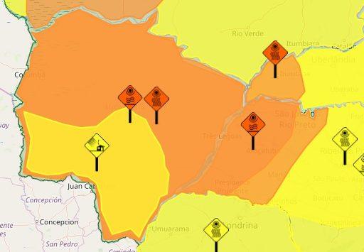 No mapa, em laranja, regiões do Estado que podem ser atingidas por ventanias nesta segunda-feira; área laranja em todo o território marca regiões tomadas por calor e baixa umidade. (Imagem: Inmet/Reprodução)