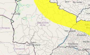 Faixa amarela no mapa estará sujeita a temporais nesta terça-feira, segundo o Inmet. (Imagem: Inmet/Divulgação)