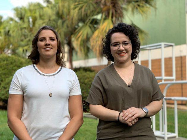 A comentarista Thais Picarte e a narradora Natália Lara, que comandam a jornada esportiva que vai ao ar na TVE Cultura MS. (Foto: TV Cultura de São Paulo/Divulgação)
